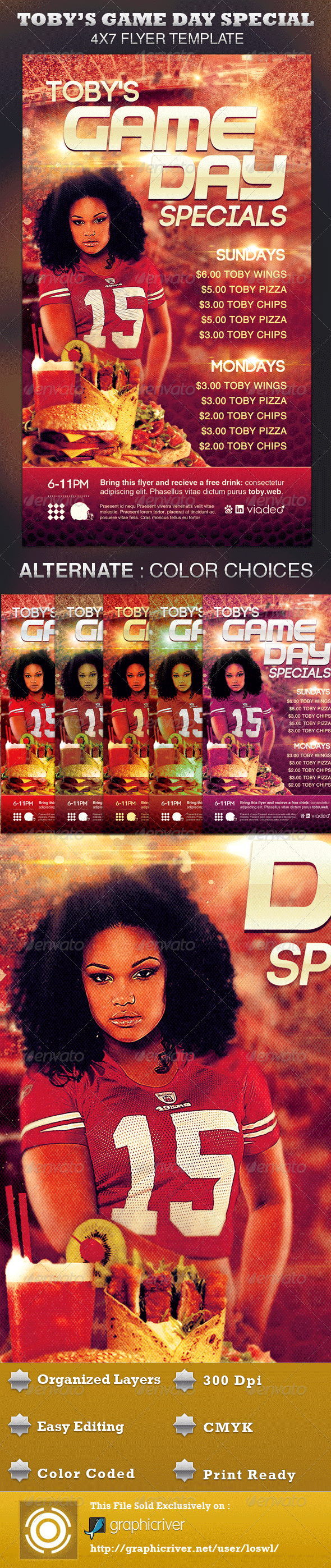 Toby's Game Day Specials Flyer Template - Sports Events