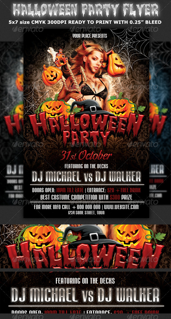 halloween party flyer template clubs parties events. Black Bedroom Furniture Sets. Home Design Ideas