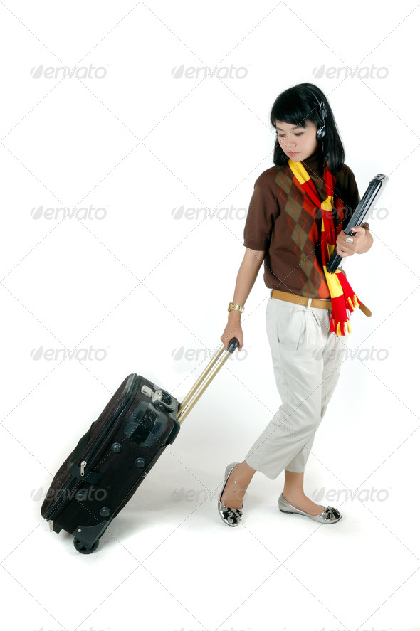young woman college ready to traveling - Stock Photo - Images