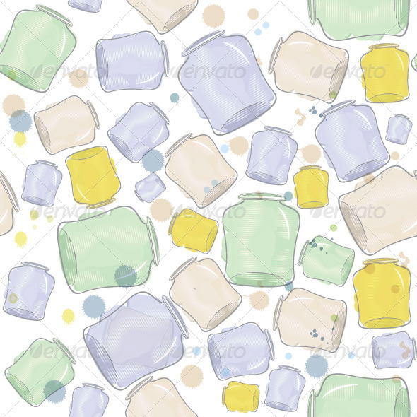 Water Color Jars Seamless Vector - Textures / Fills / Patterns Illustrator