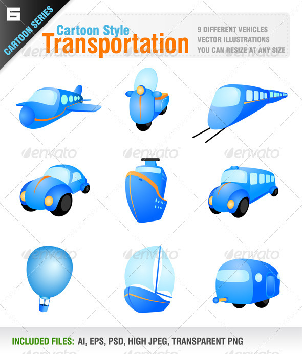 GraphicRiver Transportation Vehicle Icons 3055112
