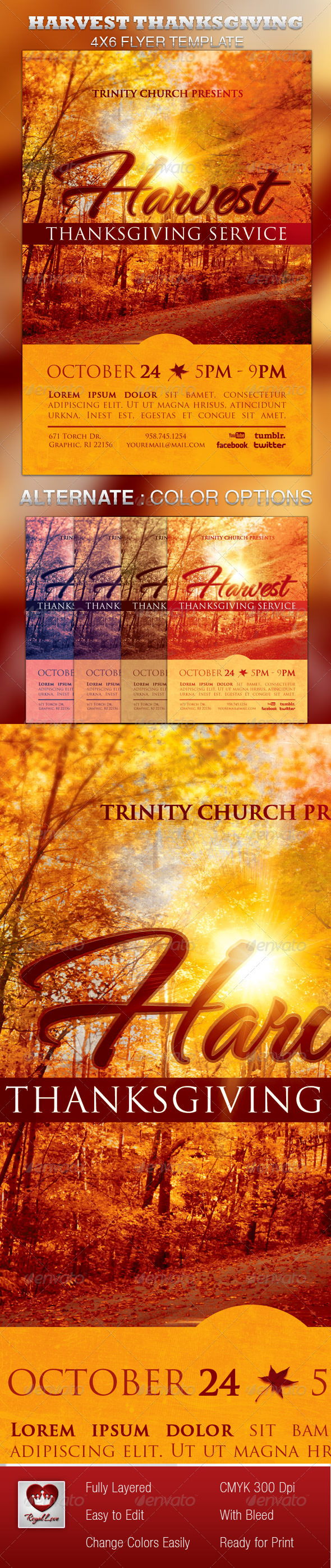 Harvest Thanksgiving Service Flyer Template - Church Flyers