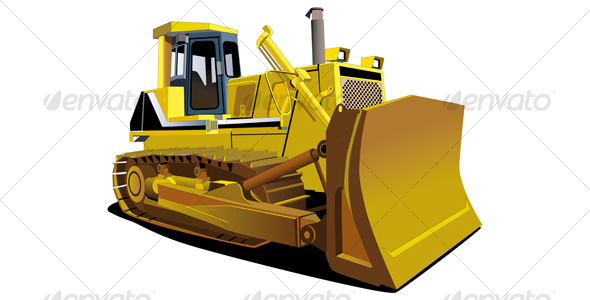 Graphic River Yellow Dozer Vectors -  Conceptual  Business  Industries 108572