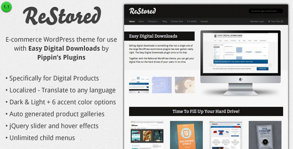 ReStored – Theme Ecommerce para Venta de Productos Difitales de Descarga en WordPress