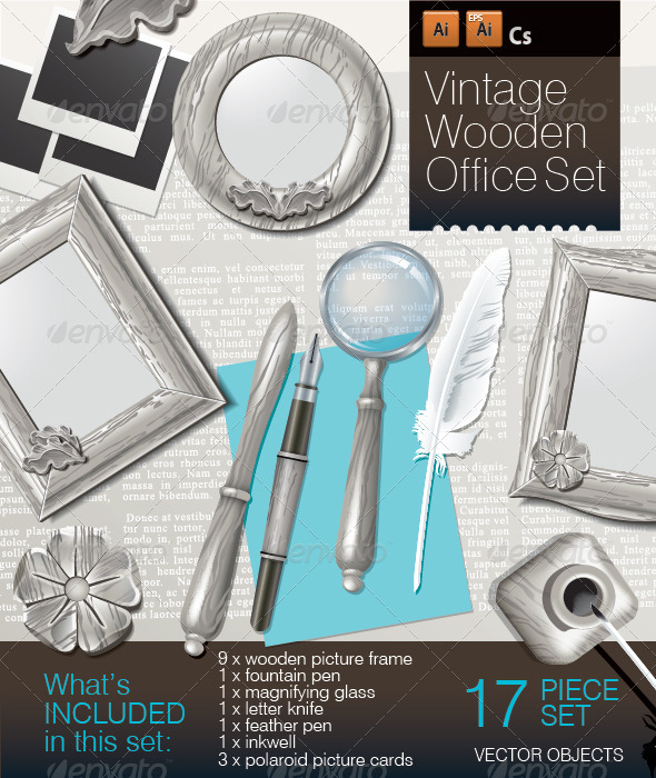 Vintage Wooden Office Set - Man-made objects Objects