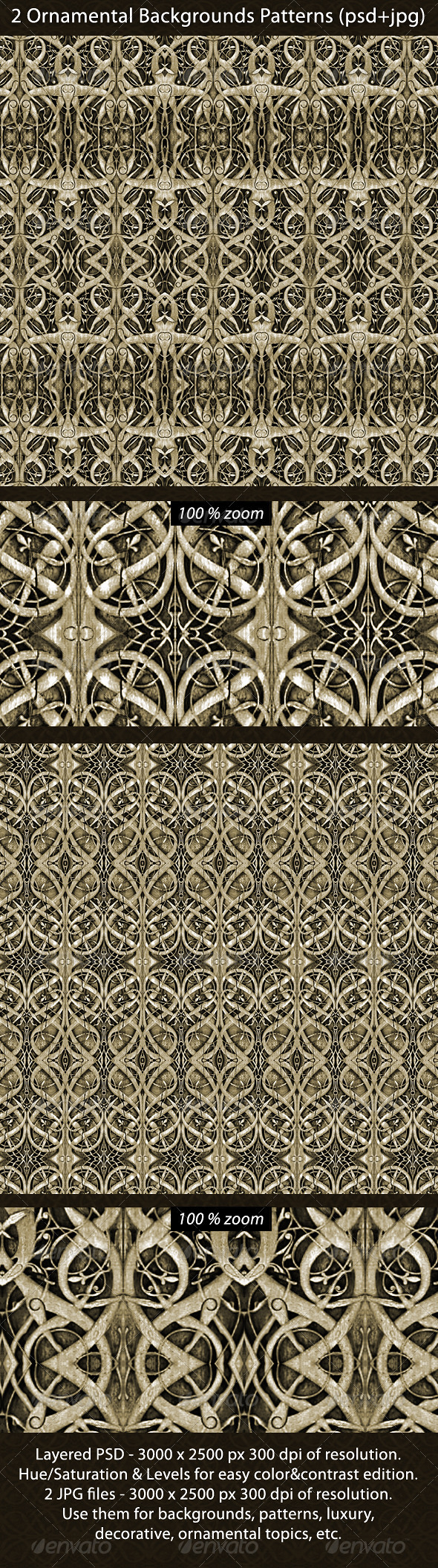 2 Ornamental Backgrounds Patterns - Backgrounds Graphics