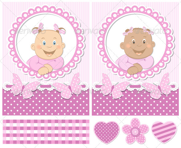 GraphicRiver Happy Baby Girls Pink Scrapbook Set 3061142