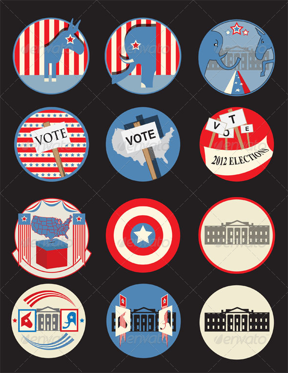 Retro Presidential Election Badges - Man-made objects Objects