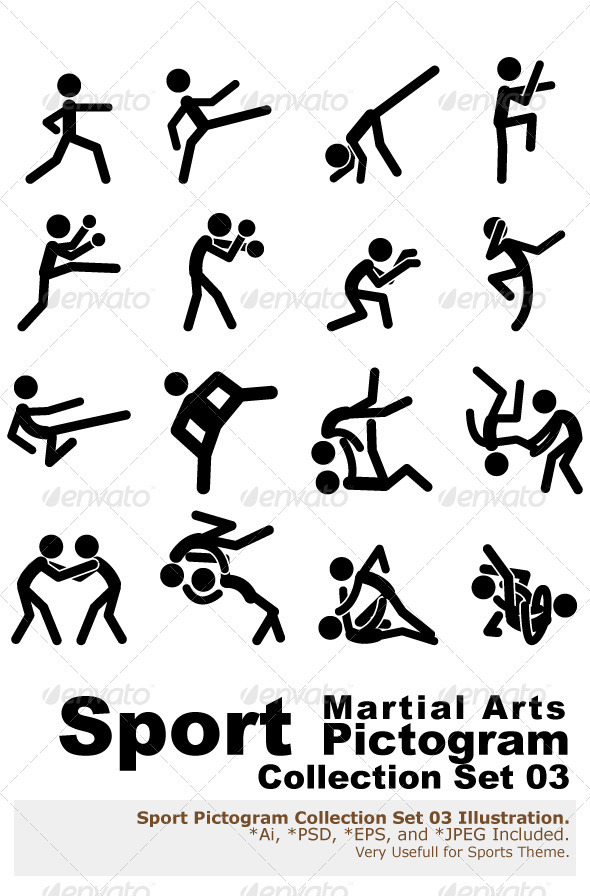 GraphicRiver Sport Pictogram Icon Set 03 Martial Arts 3063477