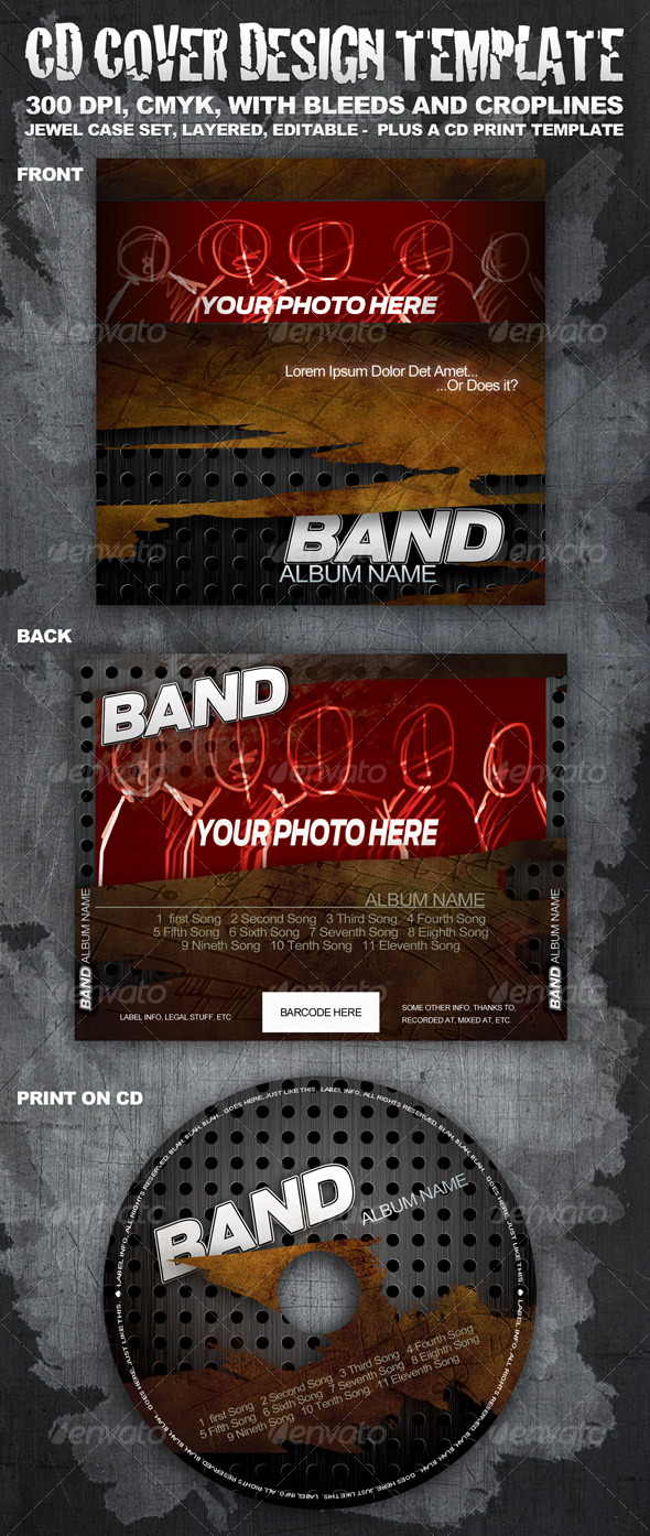 CD cover template - CD & DVD artwork Print Templates