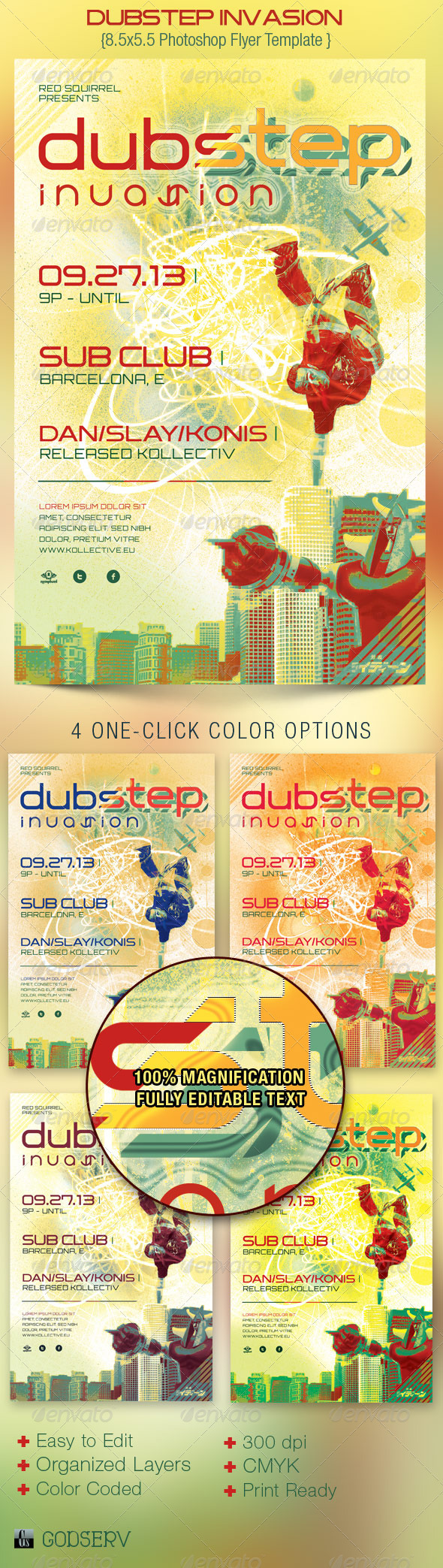Dubstep Invasion Flyer Template - Clubs & Parties Events