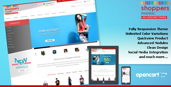 Shoppers Maniac Opencart Fully Responsive Theme