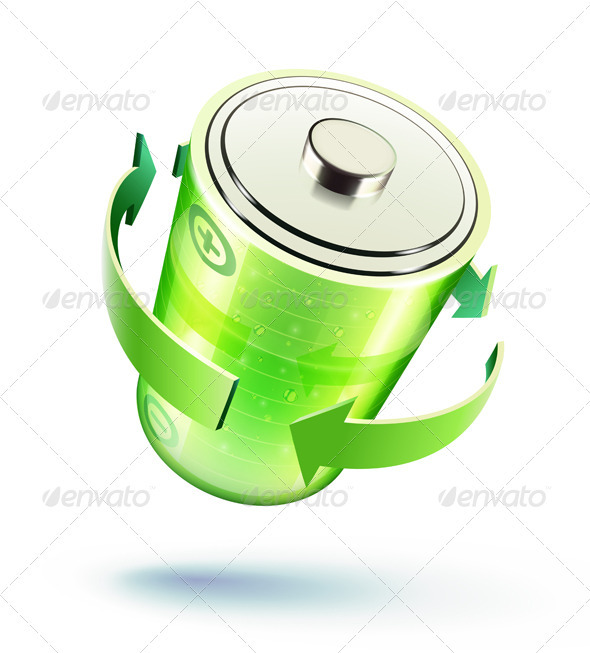 Green battery icon  - Technology Conceptual