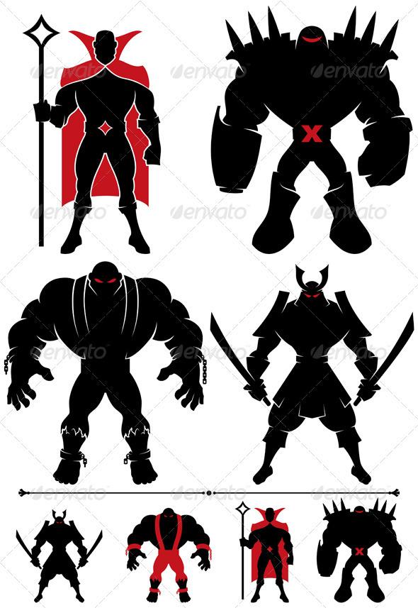 GraphicRiver Supervillain Silhouette 3068951