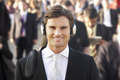 Male commuter in crowd wearing headphones - PhotoDune Item for Sale