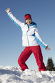 Woman Standing In Snow Wearing Warm Clothes On Ski Holiday In Mountains - PhotoDune Item for Sale