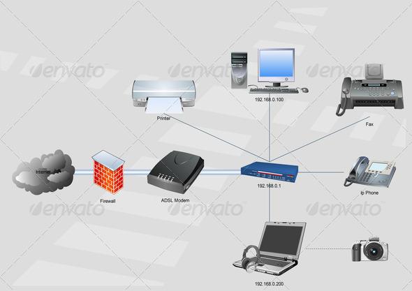 Home network diagram stock photo by alexskopje photodune for Home network architecture diagram