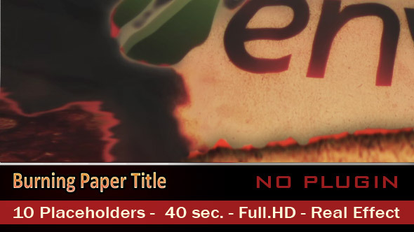 After Effects Project - VideoHive Burning Paper Title 3072932