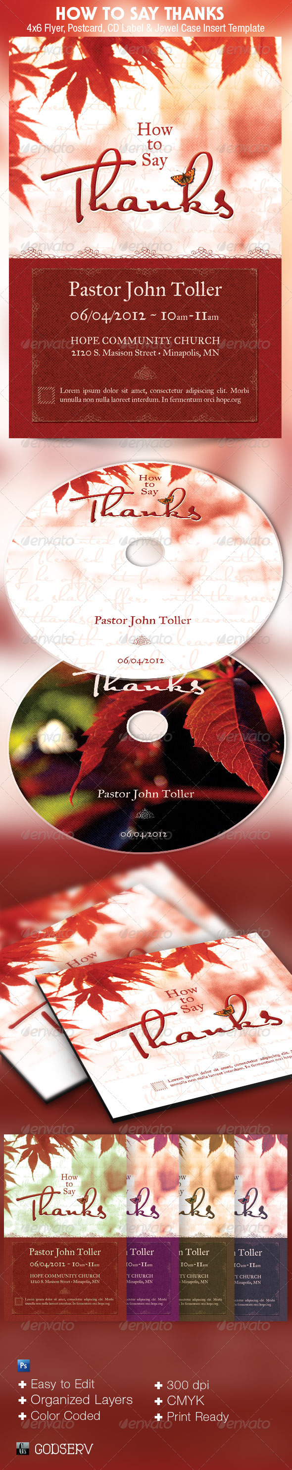 How to Say Thanks Church Flyer and CD Template - Church Flyers