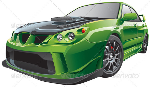 Green custom car - Objects Vectors