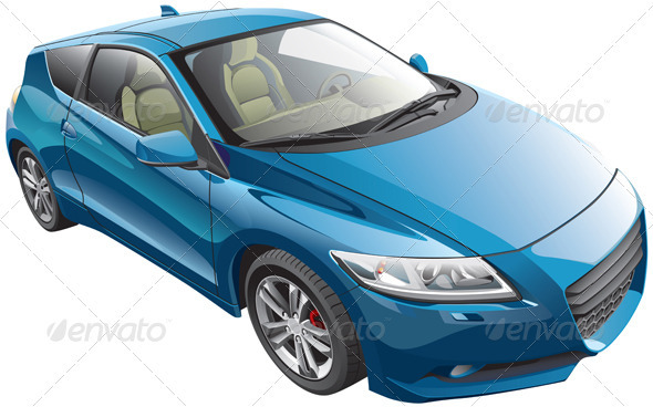 Blue Sport Car - Objects Vectors