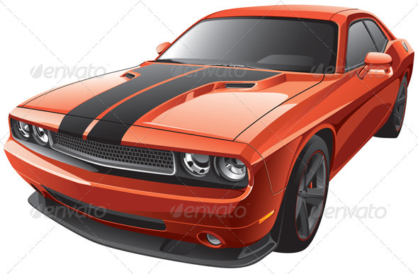 Orange Muscle Car - Objects Vectors