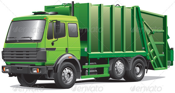 Green Garbage Truck - Objects Vectors