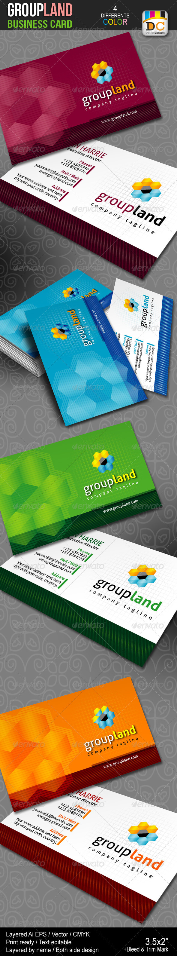 Group Land Business Cards - Business Cards Print Templates