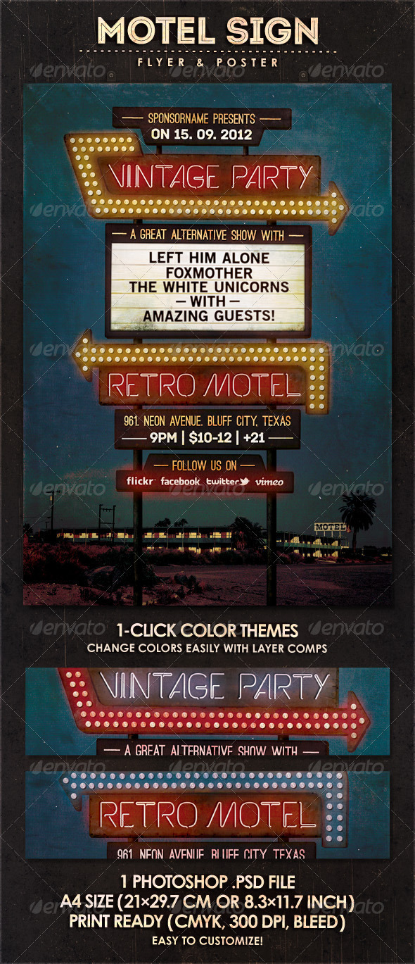 Motel Sign - Flyer & Poster - Concerts Events