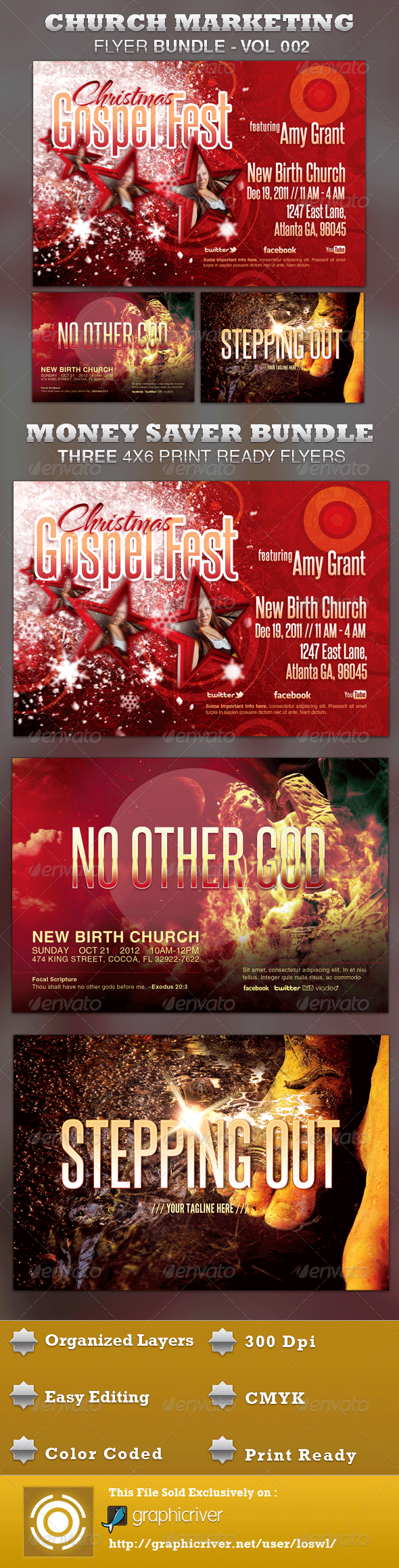 Church Marketing Flyer Bundle Vol-002 - Church Flyers