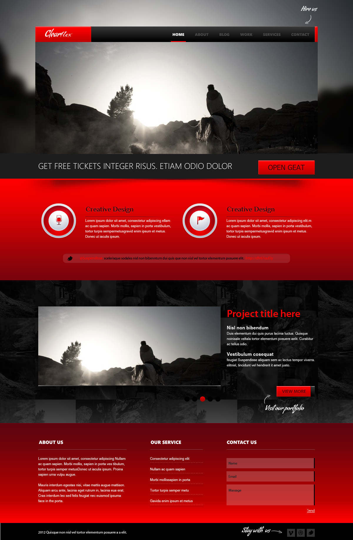 Clearflex PSD Templates - 04_Home page with red content and Slider