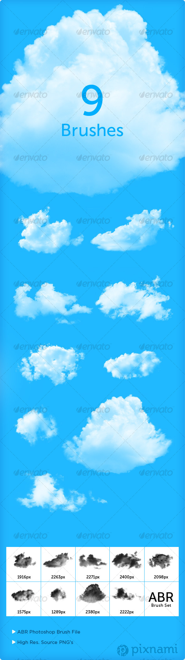 9 Cloud Brushes for Photoshop - Brushes Photoshop