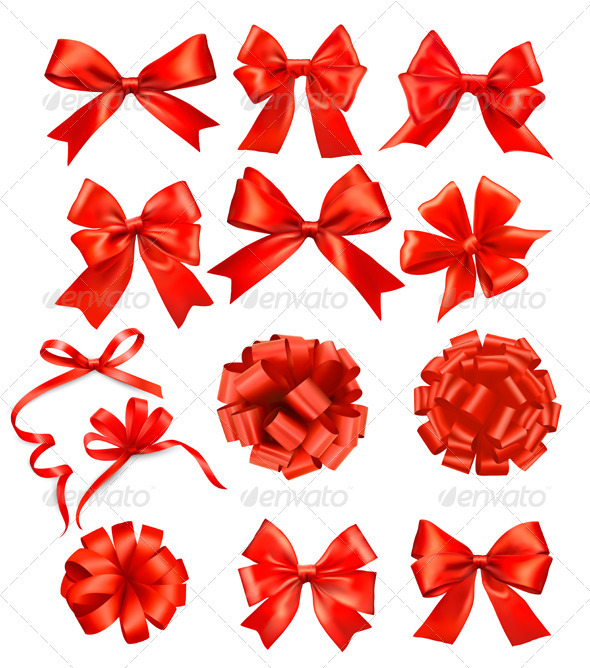 Big set of red gift bows with ribbons - Decorative Symbols Decorative