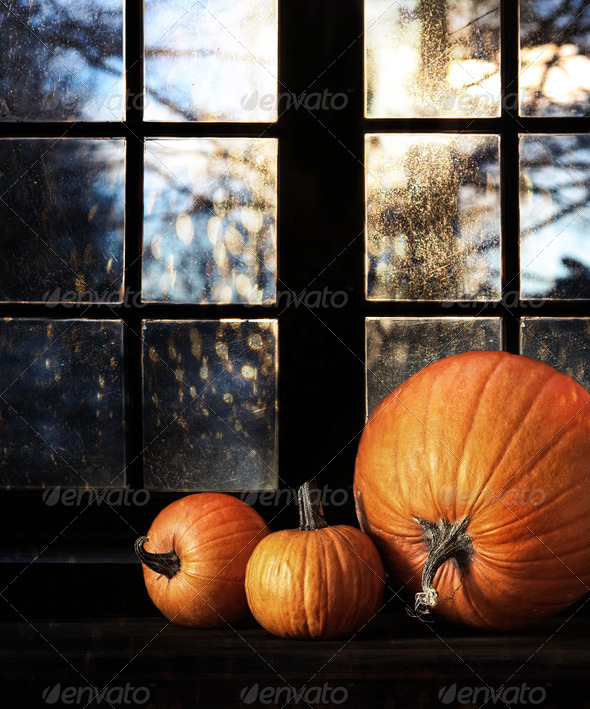 Different sized pumpkins in window - Stock Photo - Images