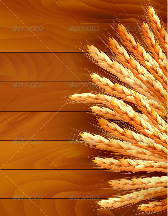 Ears of wheat on wooden background - Flowers & Plants Nature