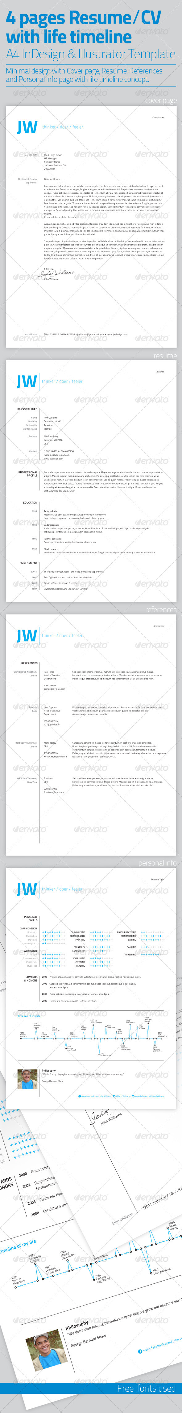 GraphicRiver Resume Template 4 Pages with Life Timeline 3076496