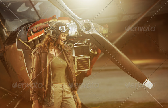 Vintage airplane pilot - Stock Photo - Images