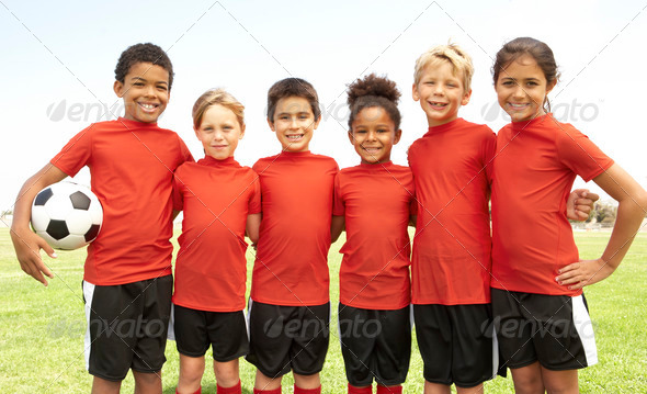 Young Boys And Girls In Football Team - Stock Photo - Images