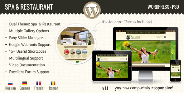 ThemeForest SPA Treats Spa & Restaurant WordPress 3002682