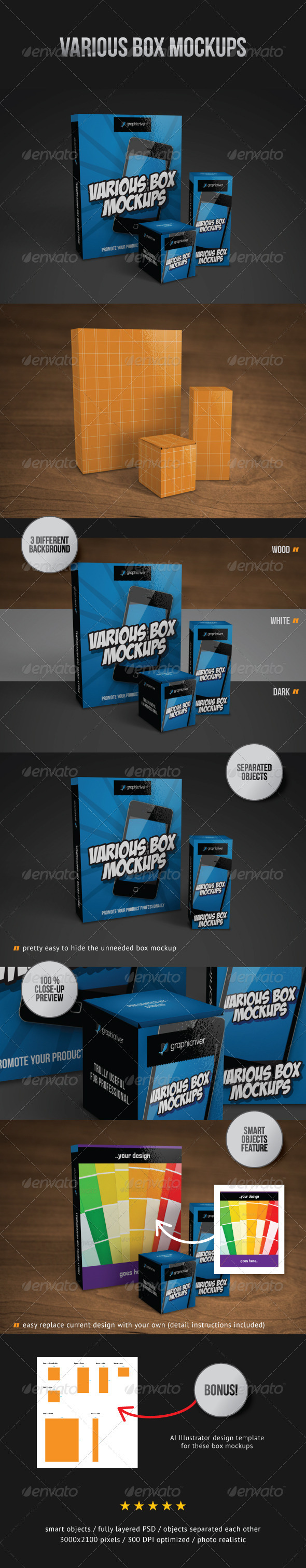 Various Box Mockups - Miscellaneous Packaging