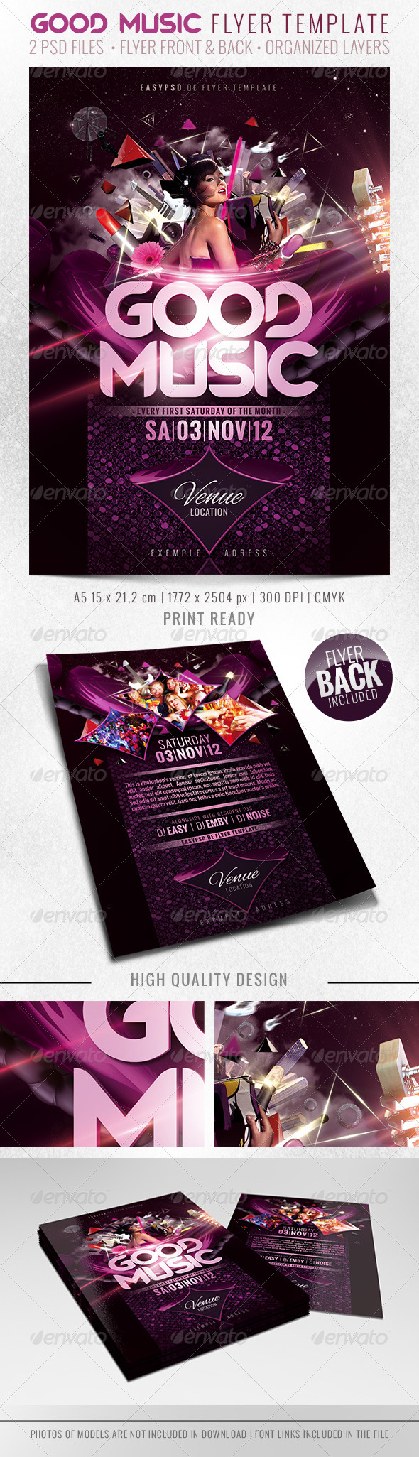 GOOD MUSIC Flyer Template - Clubs & Parties Events