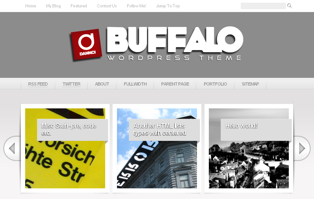 Buffalo - Unique WordPress Theme (5 in 1) - Homepage in light color scheme.