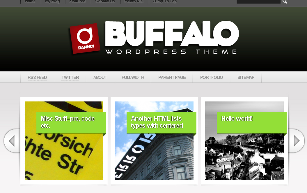 Buffalo - Unique WordPress Theme (5 in 1) - SlideShow section with featured post with big images.