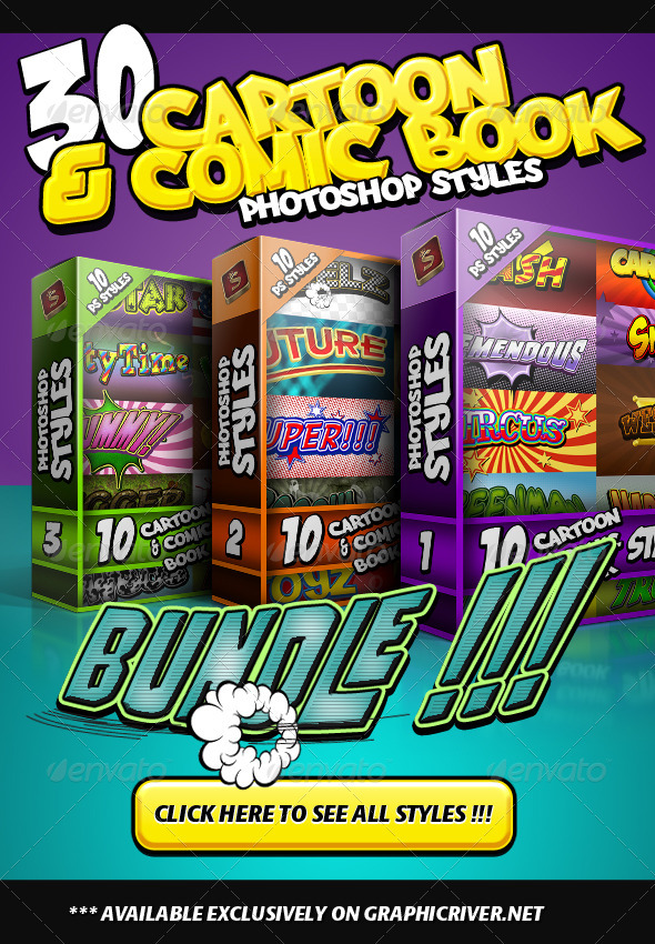 Cartoon and Comic Book Styles Bundle - Styles Photoshop