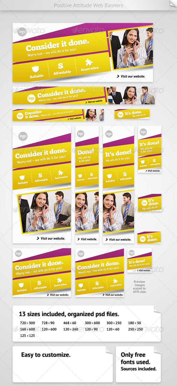 Positive Attitude Web Banners - Banners &amp; Ads Web Elements
