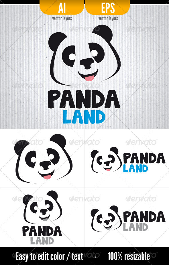 GraphicRiver Panda Land Logo Template 3102545
