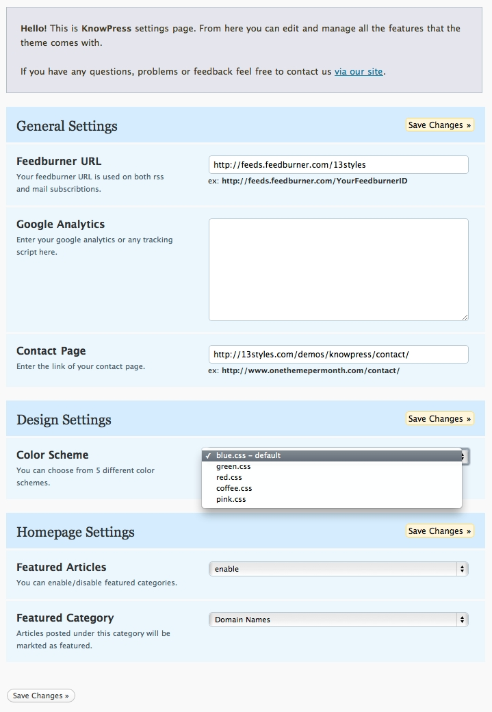 KnowPress Knowledge Base/Wiki for WordPress - This is the WordPress Admin Settings page. You can specify a Feedburner URL, easily paste your Google Analytics code for automatic inclusion. The contact page links to any page of your choosing, and you can select from five different colour schemes. The featured articles section makes it easy to feature certain articles on the homepage.