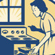 Housewife Baker Baking in Oven Stove Retro - GraphicRiver Item for Sale