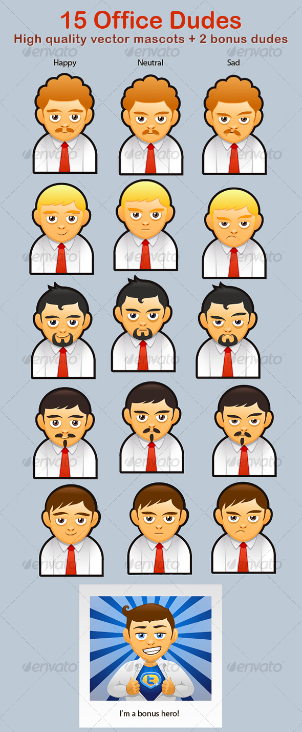 15 Office Dudes - People Characters