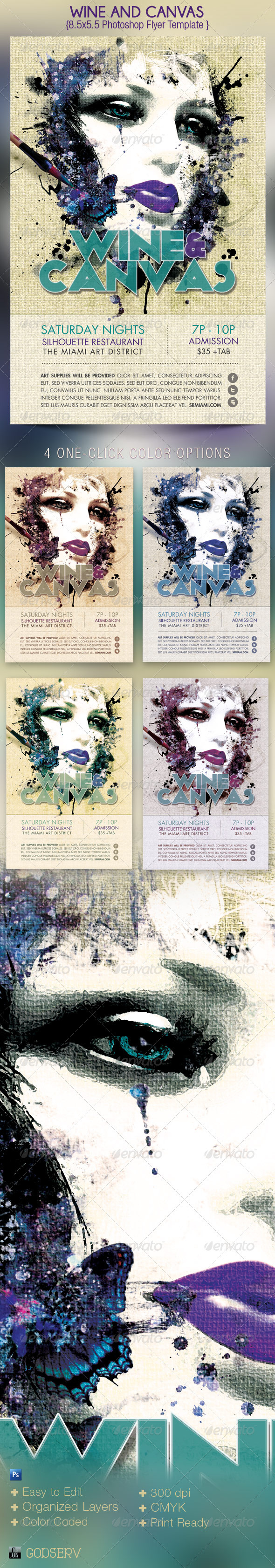 Wine and Canvas Art Event Flyer Template - Events Flyers